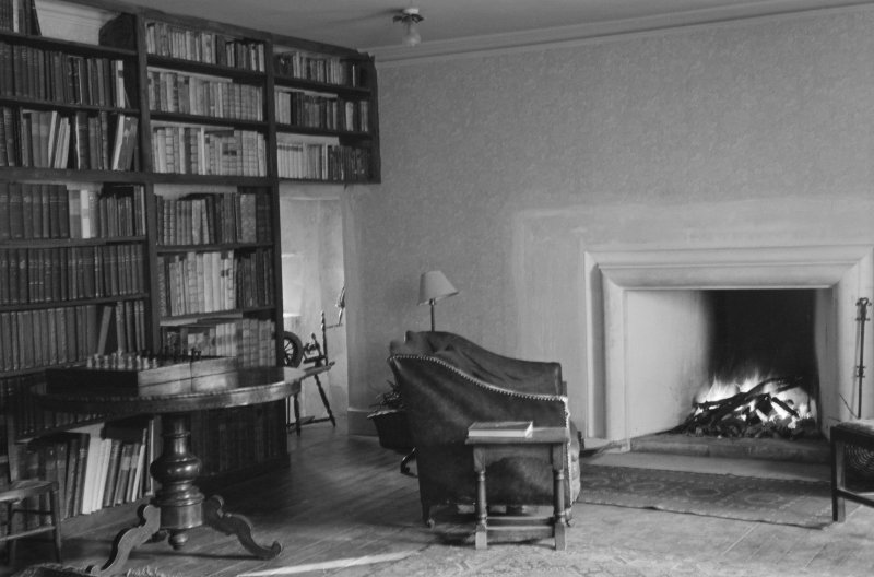Interior view of Balbithan House showing library.