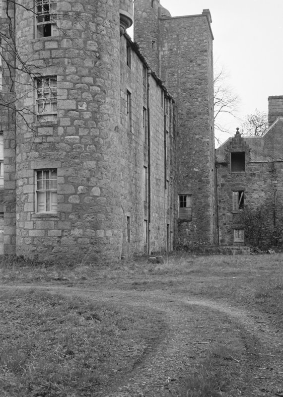 Detail of Aboyne Castle in derelict state.