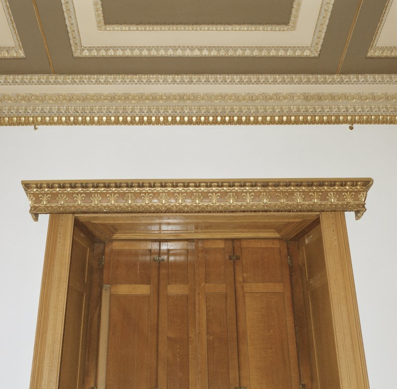 Dundee, Camperdown House, interior. Detail of Cornice and Carved Door Lintel, Dining Room, Ground Floor.