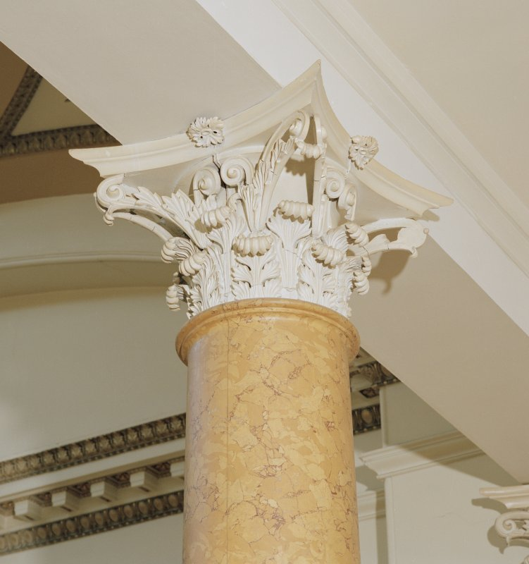 Dundee, Camperdown House, interior Detail of Column Capital, Staircase, First Floor