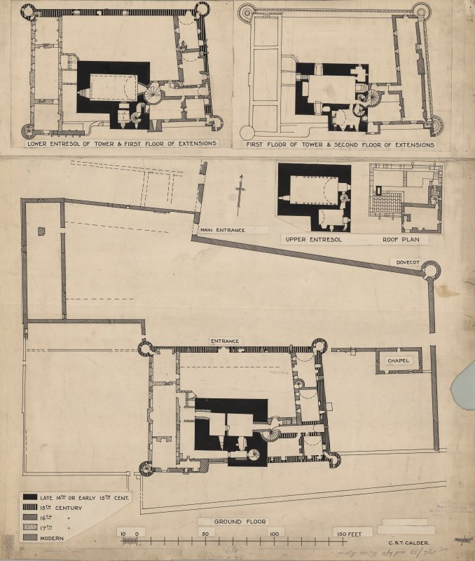 1:1 scale copy of EDD 65/51  Phased floor plans of Craigmillar Castle from 1920