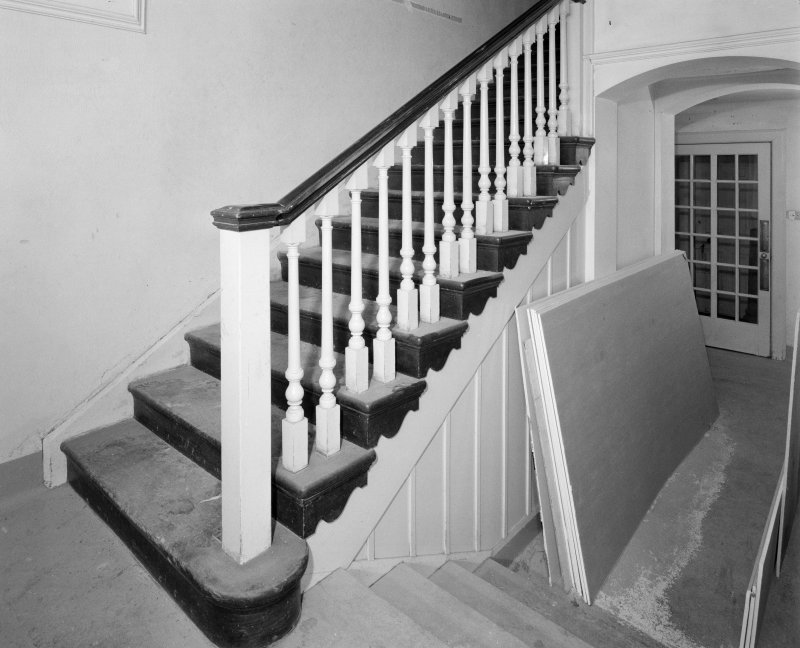 Gardyne Castle. Interior. View of staircase on ground floor.