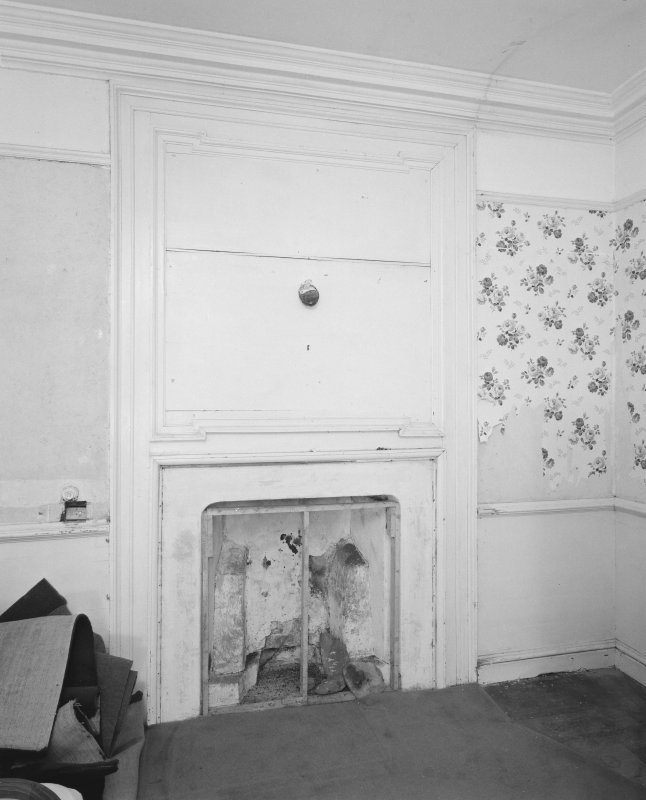 Gardyne Castle. Interior. Detail of fireplace in room adjacent to pantry on first floor.