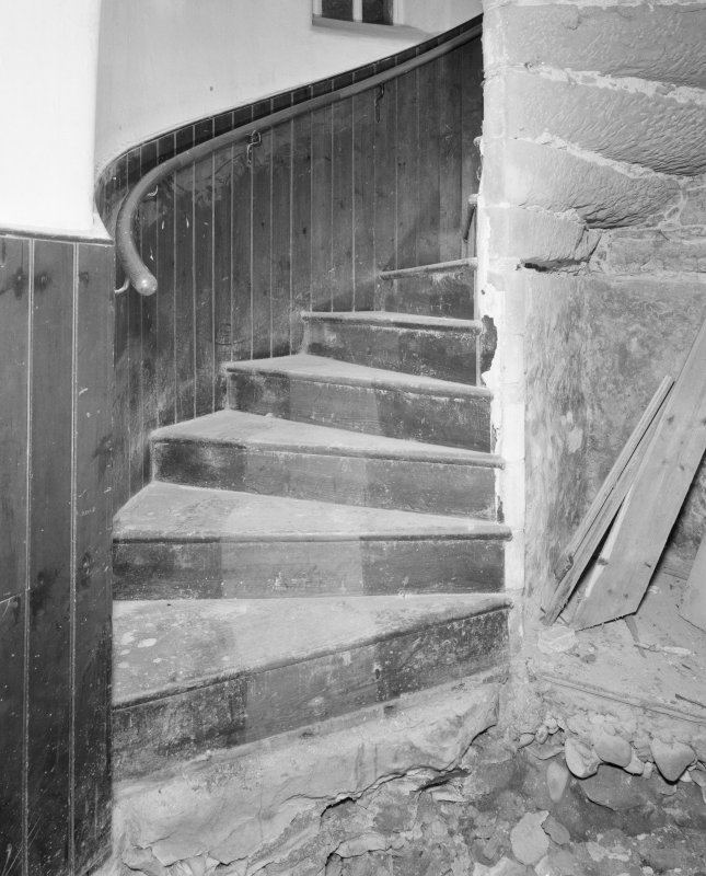 Gardyne Castle. Interior. Detail of spiral staircase.