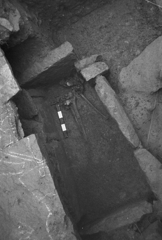 Jedburgh Abbey excavation archive Frame 3: Trench J: Grave 1109, below Grave 233, from SW
