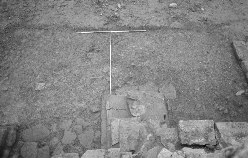 Jedburgh Abbey excavation archive Frame 30: Area 2: Trench G: E extension (S of infirmary) after first clean. From above / N.