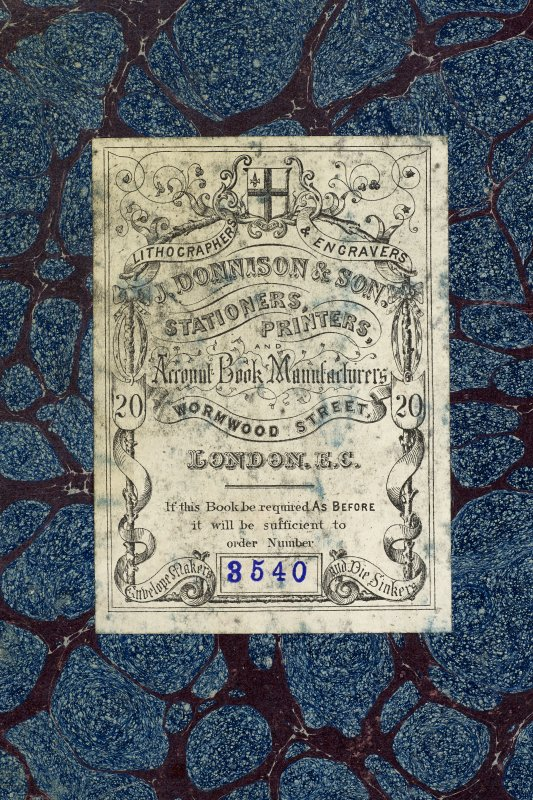 Bookplate inside cover of album 'Moss Empires Limited. Edinburgh. Artistes Saleries'