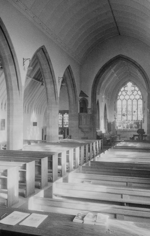 Interior view of St Mary's Episcopal Church, Kirriemuir, showing nave.