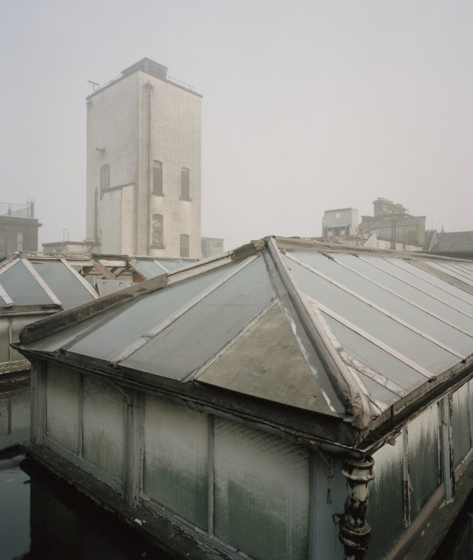 View of roof area, Glasgow Herald Building, Mitchell Street, Glasgow, from NE.