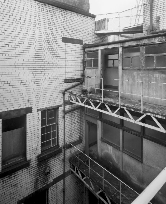 View of rear stairwell, Glasgow Herald Building, Mitchell Street, Glasgow, from SE.