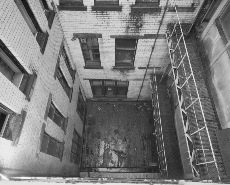 View of rear stairwell, Glasgow Herald Building, Mitchell Street, Glasgow, from above.