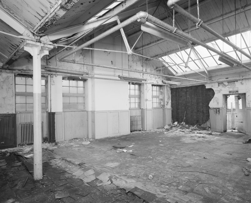 Interior view of Glasgow Herald Building, showing top floor of N section.