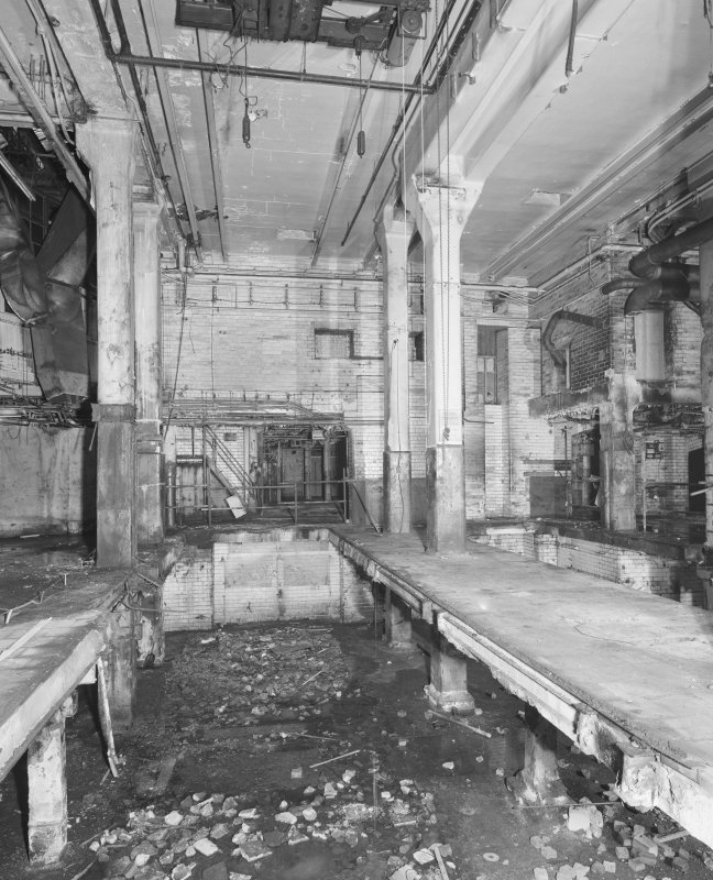 Interior view of Glasgow Herald Building, showing ground floor machine room from N.