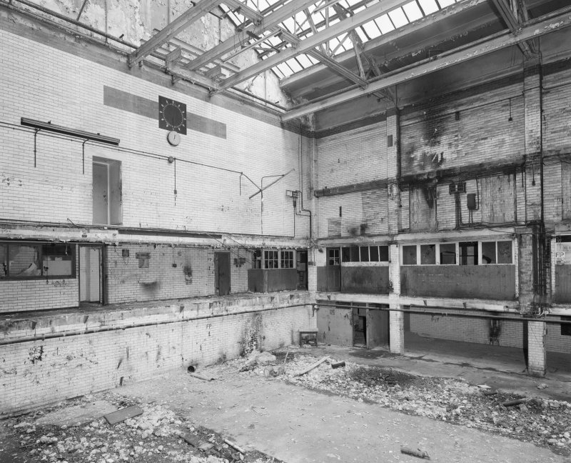 Interior view of Glasgow Herald Building, showing ground floor returns department from E.