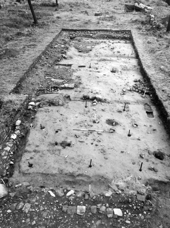 Rough Castle Roman Fort Excavation photograph - E end of paired barracks, as excavated 1959 in NW quarter of fort.