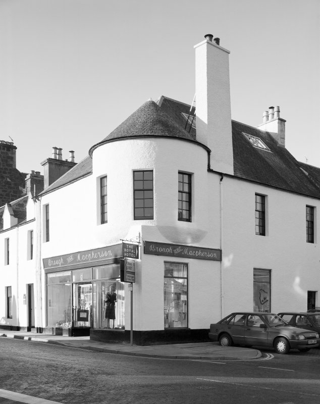 View of 1 Dunira Street, Comrie, showing the premises of Brough and Macpherson from SE.