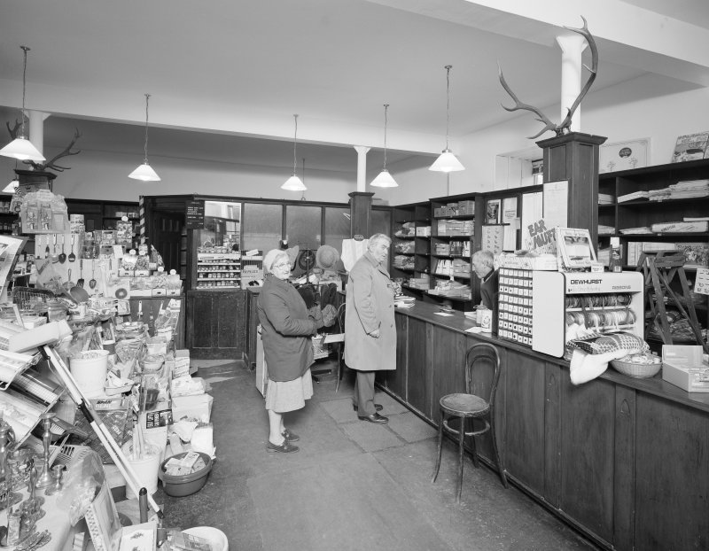 Interior view of 1 Dunira Street, Comrie, showing the shop of Brough and Macpherson from S.