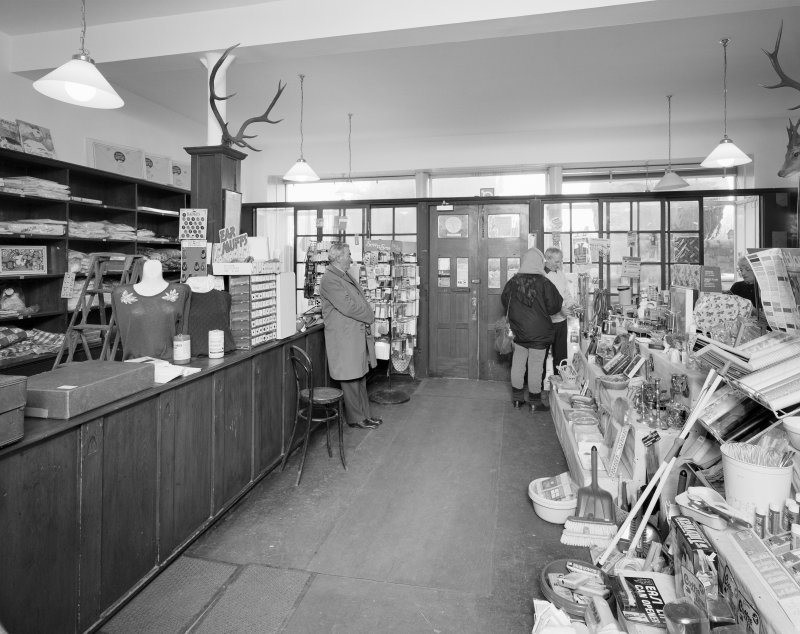 Interior view of 1 Dunira Street, Comrie, showing the shop of Brough and Macpherson from N.