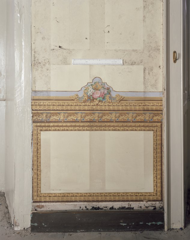 Black Barony Hotel. Interior. First floor, salon, detail of decorated panel possibly by A. Roos.
