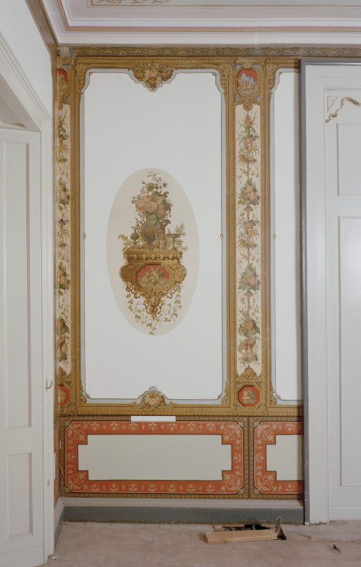 Black Barony Hotel. Interior. First floor, salon, N room, detail of decorated panelling possibly by A. Roos.