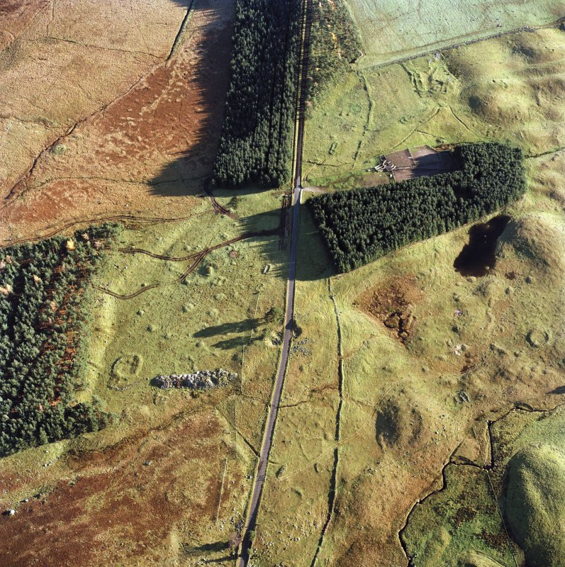 Oblique aerial view centred on the remains of hut circles, small cairns, banks and huts with farmstead, small cairns and rig adjacent, taken from the NW.