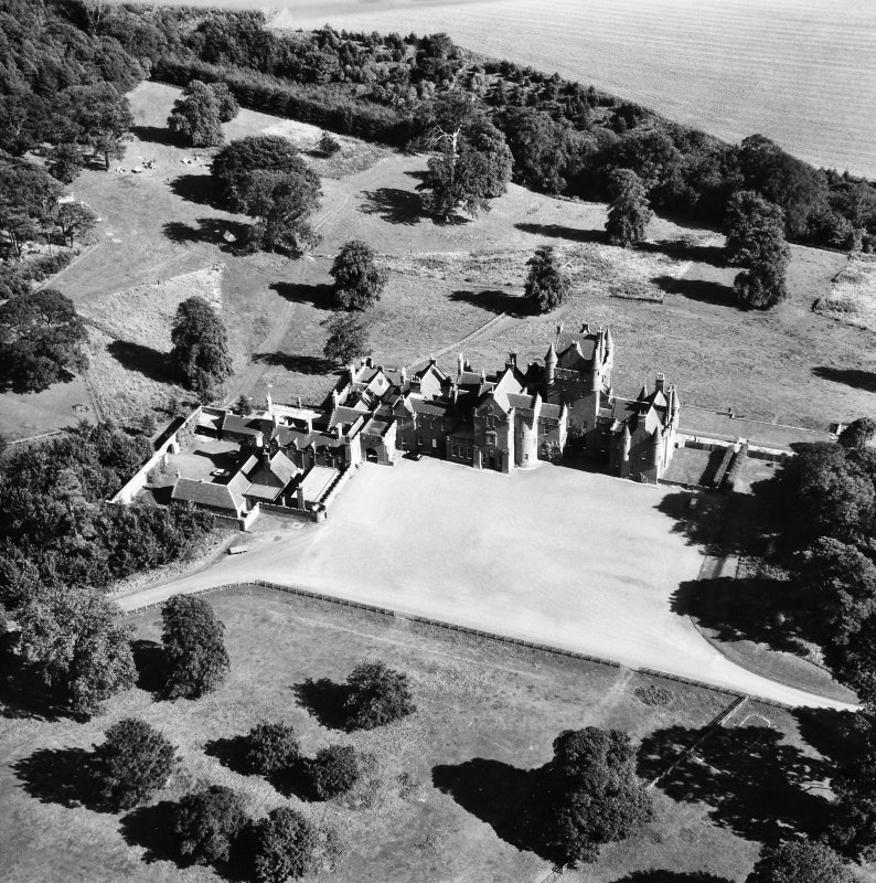 Oblique aerial view centred on Ayton Castle.