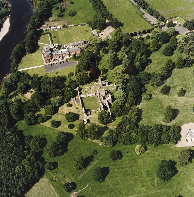 Dryburgh Abbey, oblique aerial view, taken from the S, centred on the abbey, with Dryburgh House Hotel in the top of the photograph.