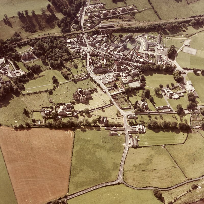 Oblique aerial view centred on abbey from N.