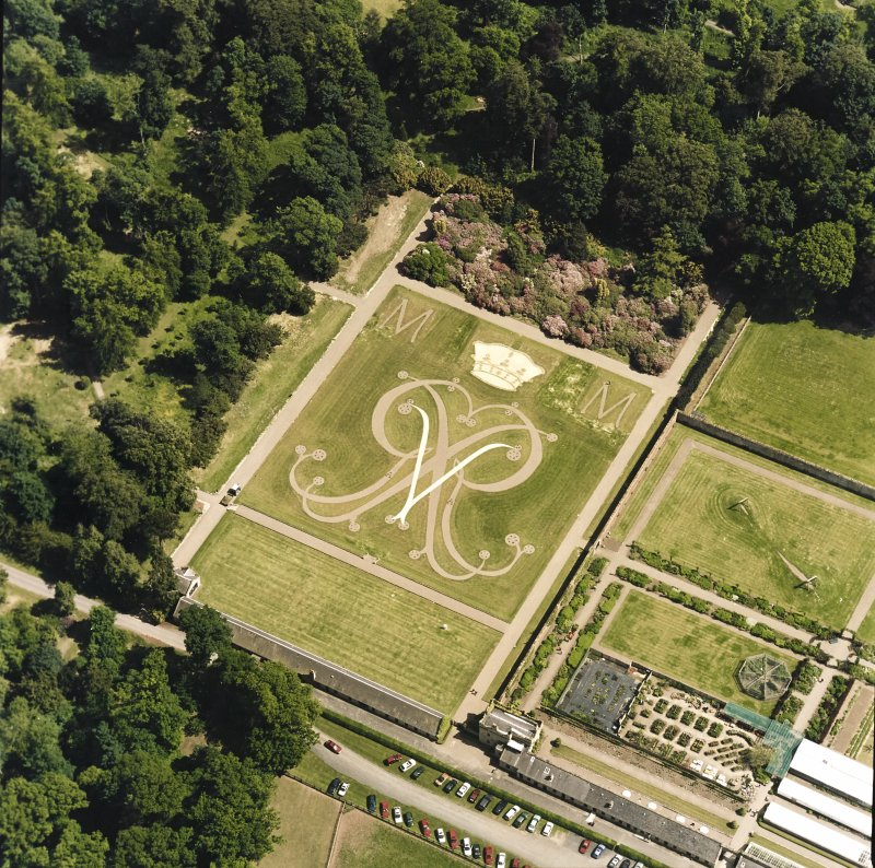 Oblique aerial view centred on the formal garden, taken from the WNW.