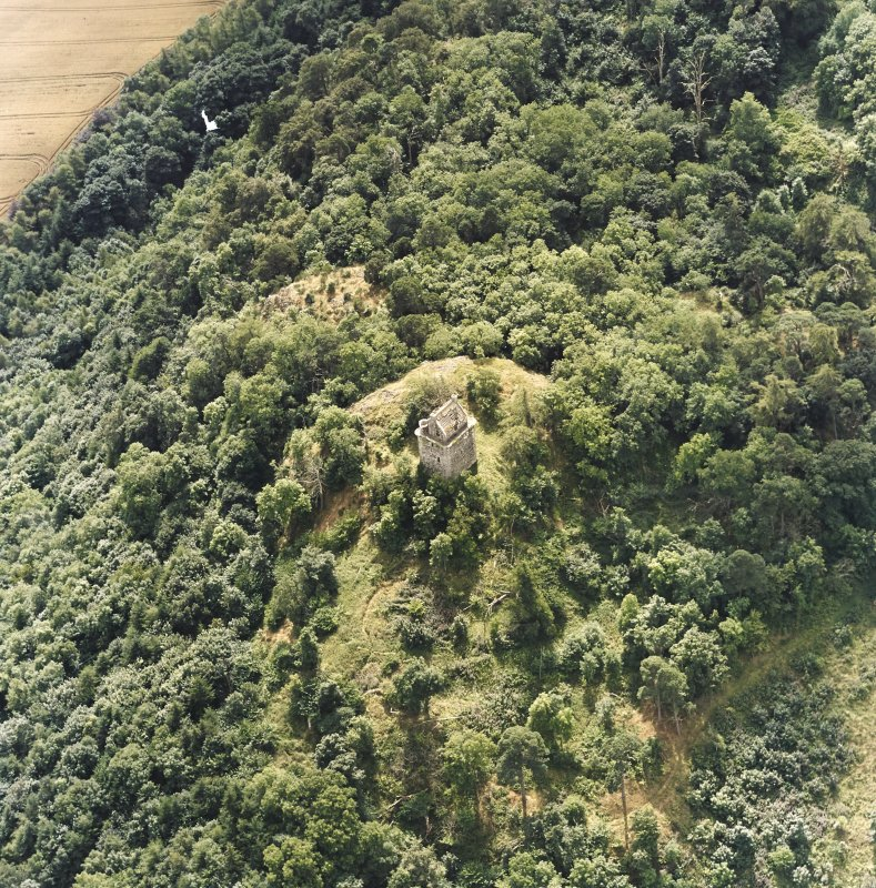Oblique aerial view centred on the remains of the tower-house, taken from the NNE.
