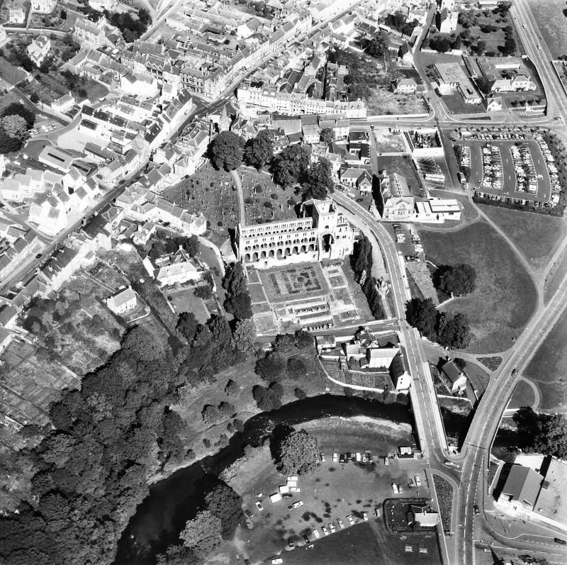 Oblique aerial view centred on abbey from S.