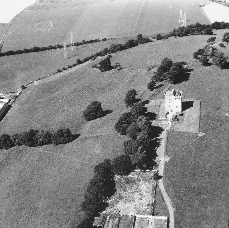 Aerial view of Clackmannan Tower.