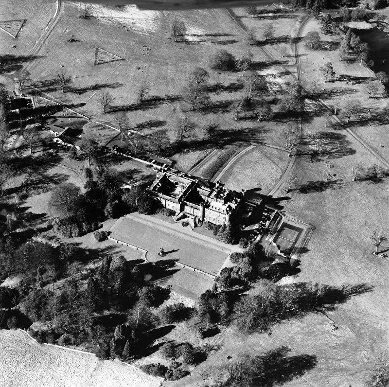 Oblique aerial view, taken from the SE.