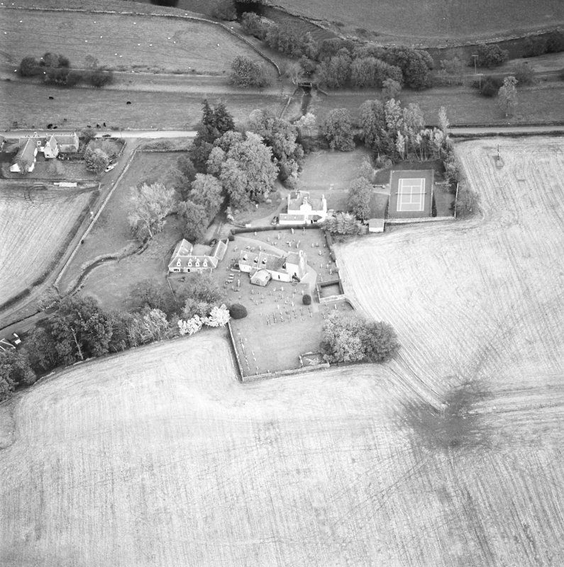 Oblique aerial view of the church and manse, taken from the S.