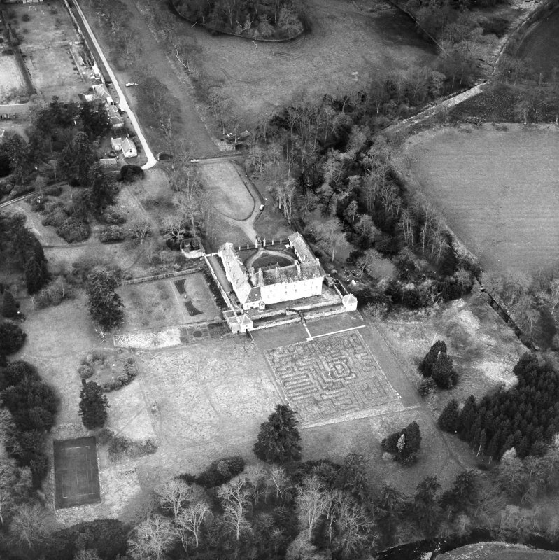 Traquair House Aerial view from South East
