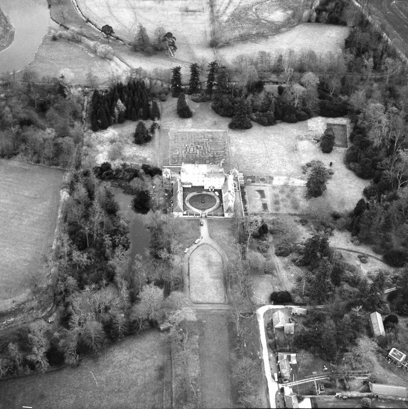 Traquair House Aerial view from South West