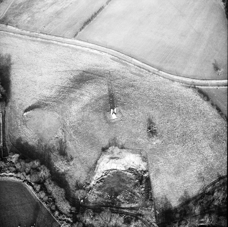 Oblique aerial photograph centred on tower and fort from SW.
