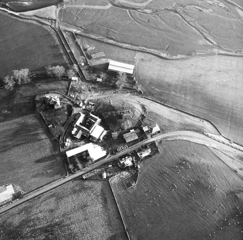 Oblique aerial view centred on tower from W.