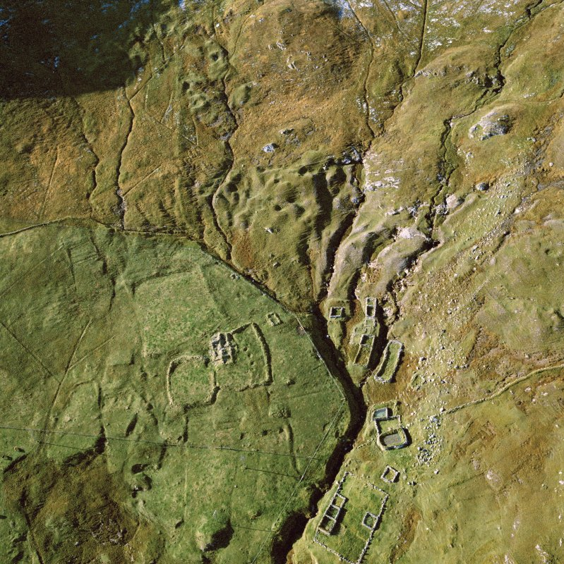 Oblique aerial view of the remains of a settlement at Catpund.