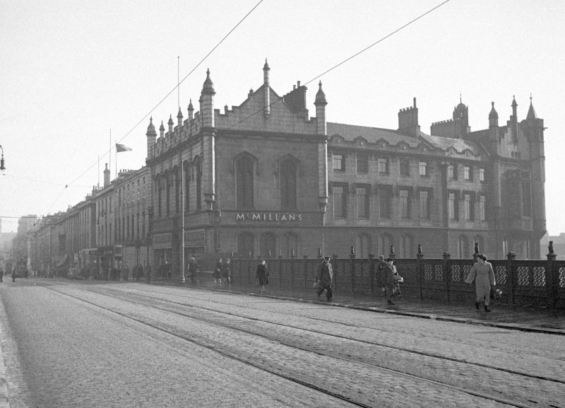 General view of Trinty Hall, Union Street, Aberdeen, from Union Bridge, showing McMillan's.