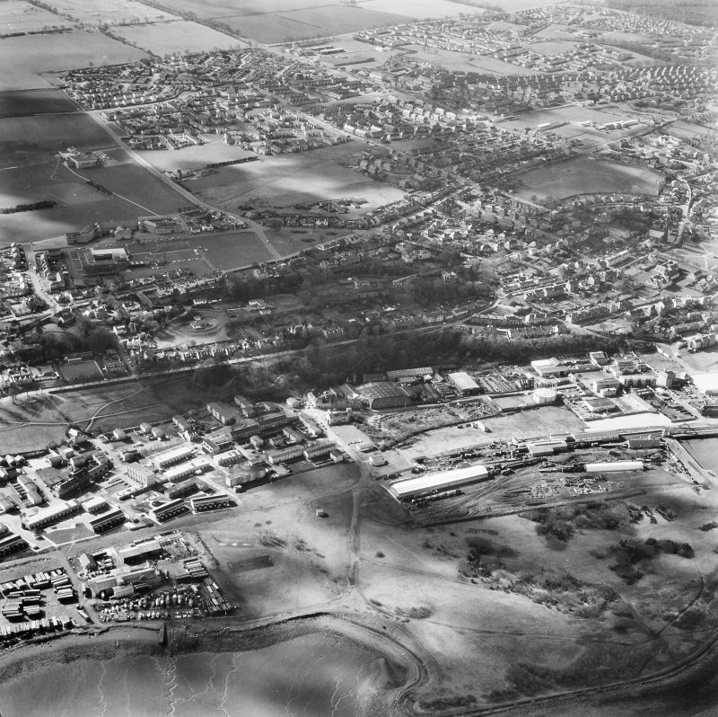 Aerial view including New Grange Foundry and Railway Station.