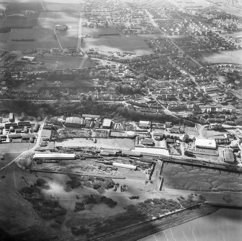 Aerial view including New Grange Foundry, Railway Station and Dock.
