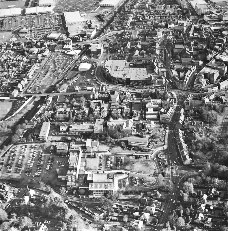 General oblique aerial view of the town, taken from the W.