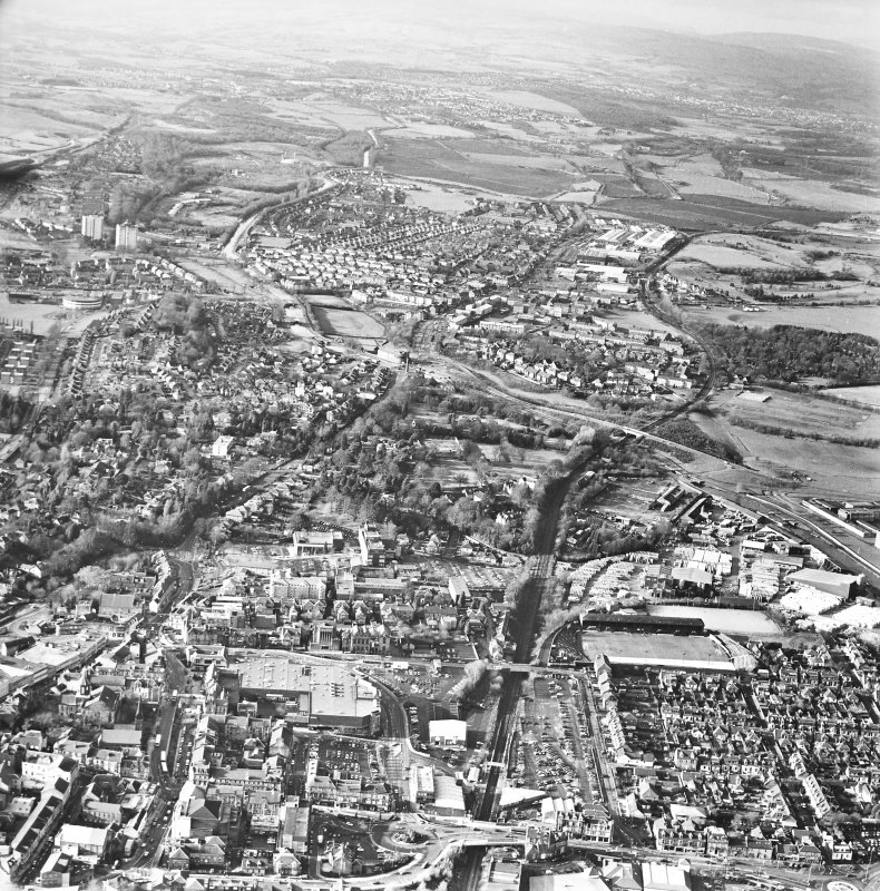 General oblique aerial view of the town, taken from the E.