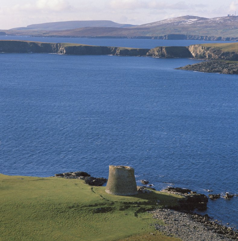 Oblique aerial view of the Broch of Mousa.