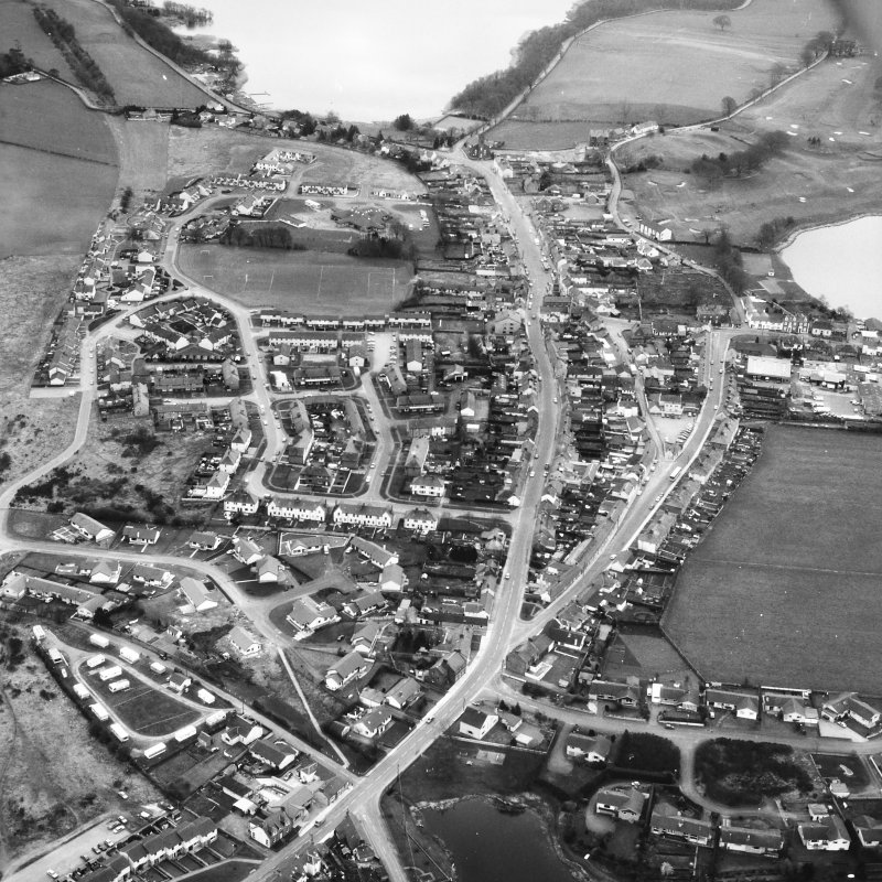 Oblique aerial view centred on town house from N.