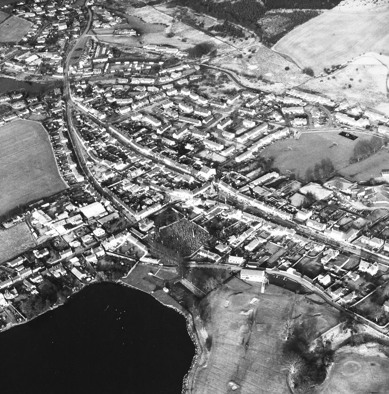 Oblique aerial view centred on town house from SW.