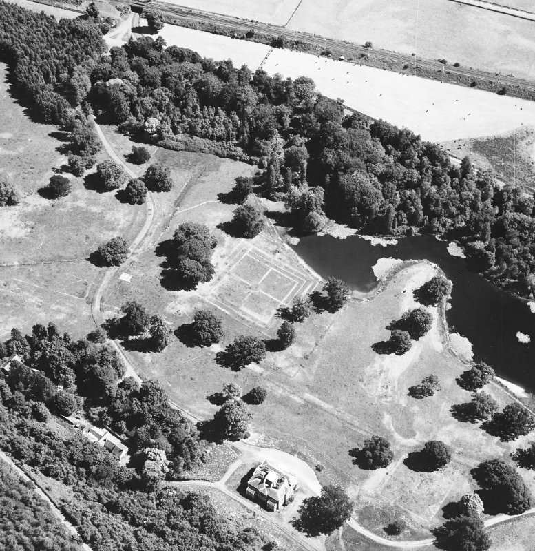 Oblique aerial view centred on gardens from SW.