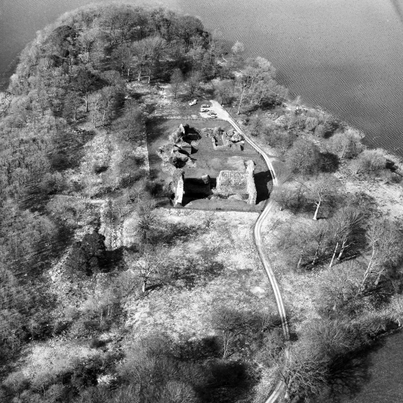 Oblique aerial view centred on castle from S.