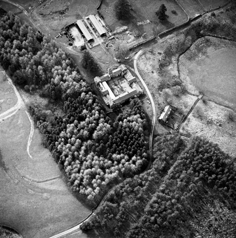 Oblique aerial view of Jardine Hall stables, site of Jardine Hall and walled garden, taken from SE.